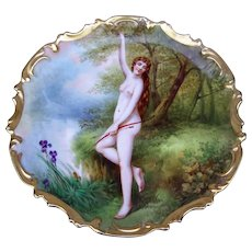 """Exquisite 13-1/2"""" B & H France Limoges 1900 Hand Painted """"Diana the Huntress"""" Goddess of the Hunt Rococo Scenic Nude Charger by the Listed French Artist, """"DuBois"""""""