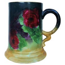 """Gorgeous Rosenthal Bavaria 1900's Hand Painted """"Deep Red Roses"""" 5"""" Floral Tankard Stein by Artist, """"G.S. Hyde"""""""