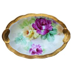 """Outstanding Vintage Ginori 1900's Hand Painted Vibrant """"Red & Yellow Roses"""" Scallop Tray by the Artist, """"V. Neri"""""""