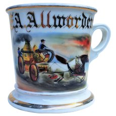 "Limoges France & Koken Barber Supply 1900 Hand Painted Occupational Shaving Mug of Volunteer Firefighter, ""E.A. Allworden"" & His ""Horse Drawn Fire Steam Pump"" Shaving Mug"