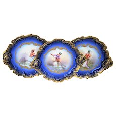 """Spectacular Limoges France 1900 Hand Painted """"Lady Net Fishing"""" Fancy Scallop Scenic Cobalt Blue Plate by the Artist, """"Issenchou"""""""