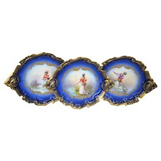 """Exquisite Limoges France 1900 Hand Painted """"Lady Fishing In A Pond"""" Fancy Scallop Scenic Cobalt Blue Plate by the Artist, """"Issenchou"""""""