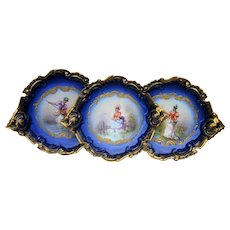 """Beautiful Limoges France 1900 Hand Painted """"Lady Fishing On The Dock"""" Fancy Scallop Scenic Cobalt Blue Plate by the Artist, """"Issenchou"""""""