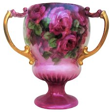 """Lovely Vienna Austria 1900's Hand Painted """"Red, Pink, & White Roses"""" 3-Handle 7"""" Floral Pedestal Love Cup - Red Tag Sale Item"""