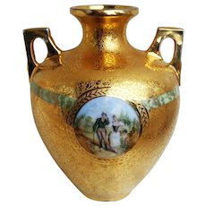"Beautiful Czechoslovakia & Osborne Studio of Chicago 1925 Hand Painted Scenic ""Couple Strolling"" 7-1/4"" Heavy Etched Gold Vase by ""Osborne"""