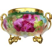 """Spectacular Pickard Studio of Chicago 1900's Hand Painted Vibrant """"Red, Pink, & White Roses"""" Floral Footed Jardiniere With Gilded Swan Handles by Listed Artist, """"Joseph Blaha"""""""