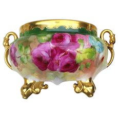 "Spectacular Pickard Studio of Chicago 1900's Hand Painted Vibrant ""Red, Pink, & White Roses"" Floral Footed Jardiniere With Gilded Swan Handles by Listed Artist, ""Joseph Blaha"""