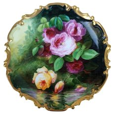 "Wonderful Limoges France 1900's Hand Painted ""Pink & Yellow Reflecting Roses"" 13-1/4"" Floral Rococo Charger by French Artist, ""Duval"""