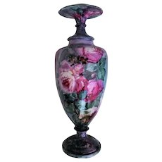 "Exquisite Belleek 1900's Hand Painted ""Red & Pink Roses"" 17-1/2"" Floral Pedestal Vase by the Artist, ""Florence Burgeson"""