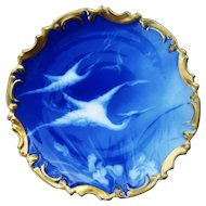 """Gorgeous LS & S Limoges France 1900 Hand Painted """"White Artic Birds"""" 13-1/2"""" Scenic Rococo Charger"""