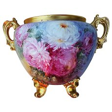 "Spectacular Heinrich & Co. Selb Bavaria 1900's Hand Painted Vibrant ""Red, Pink, White, & Yellow Mums"" 11-1/4"" Floral & Footed Jardiniere"