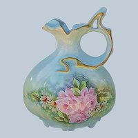 """Beautiful Bavaria 1900's Hand Painted """"Pink Roses & Daisies"""" Fancy Scallop 8-1/2"""" Pillow Shape Floral Ewer by the Artist, """"G.S."""""""