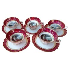 """Outstanding & Scarce RS Prussia 1900 Matched Set of 5 Portraits of """"Diana the Huntress & The Reclining Lady"""" Red Decor Pedestal Cups & Saucers"""