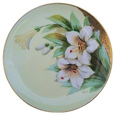 "Gorgeous Haviland France & Donath Studio of Chicago 1900's Hand Painted ""White Lily"" Floral Plate, Artist Signed"