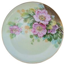 """Haviland France & Donath Studio of Chicago 1900's Hand Painted """"Wild Pink Roses"""" Floral Plate, Artist Signed"""