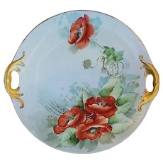 """Attractive Bavaria 1900's Hand Painted """"Burnt Orange Poppy"""" 9-3/4"""" Floral Plate by the Artist, """"M.B."""""""
