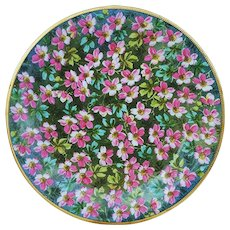 """Beautifully Decorated Hand Painted """"Pink Violets"""" 9-1/8"""""""" Floral Plate"""