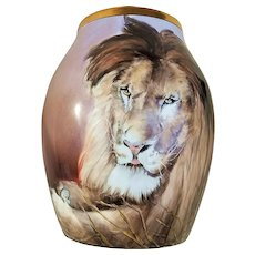 "Spectacular & Scarce T & V Limoges France & Osborne Studio of Chicago 1914 Hand Painted Magnificent ""Lion"" 11"" x 9-1/4"" Vase by the listed Artist, ""Asbjorn Osborne"""