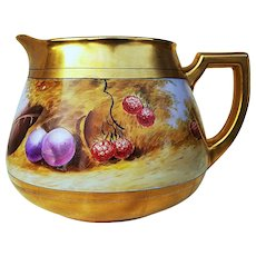 """Beautiful Pickard Studio of Chicago 1912 Hand Painted """"Deserted Garden"""" 6"""" Fruit Cider Pitcher by Listed Artist, """"Max Klipphahn"""""""