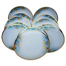 """Attractive Hutschenreuther Selb Bavaria 1900's Hand Painted Set of 12 """"Forget Me Not"""" 8-1/2"""" Floral Plates"""