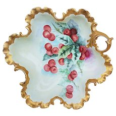 "Gorgeous Rosenthal Bavaria 1900's Hand Painted ""Cherries"" 10-3/4"" Fancy Scallop Nappy Bon-Bon Bowl"