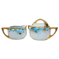 """Beautiful Early 1900's American Decorated Hand Painted """"Forget Me Not"""" Floral Sugar & Creamer"""
