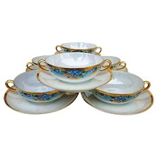 """Gorgeous Early 1900's Hand Painted """"Forget Me Not"""" Floral Bouillon Set of 6 Bowls & Saucers"""