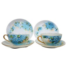 """Beautiful Hutschenreuther Selb Bavaria & American Decorated Vintage 1900's Hand Painted """"Forget Me Not"""" Set of 6 Floral Cups, Saucers, & Plates"""