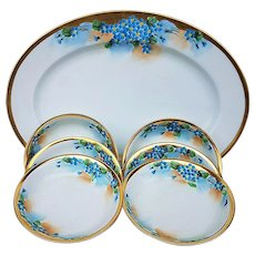 """Beautiful Vintage American Decorated 1900""""s Hand Painted Set of 7 Pc. Platter & Berry Set of Floral """"Forget Me Not"""""""