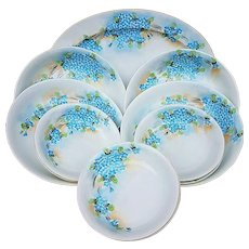 """Attractive Vintage American Decorated 1900's Hand Painted 11 Pc """"Forget Me Not"""" Platter, Bowls, & Berry Set"""