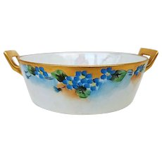 """Outstanding Bavaria 1900's Hand Painted """"Forget Me Not"""" Floral Butter Dish & Insert"""