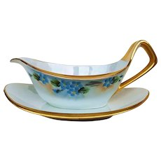 """Exceptional Germany 1910 Hand Painted """"Forget Me Not"""" Floral Sauce Pitcher & Saucer"""