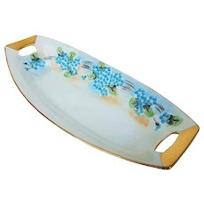 """Attractive Vintage American Decorated 1900's Hand Painted """"Forget Me Not"""" 9-1/4"""" Floral Celery"""