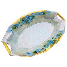 """Delightful Vintage Bavaria 1900's Hand Painted """"Forget Me Not"""" 7-5/8"""" Floral Relish Tray"""