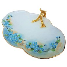 """Charming Limoges France 1900's Hand Painted """"Forget Me Not"""" 10-7/8"""" Floral Tray - Red Tag Sale Item"""