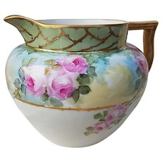 """Gorgeous Lennox Belleek 1900's Hand Painted Soft """"Pink Roses"""" 6-1/2"""" Floral Cider Pitcher"""