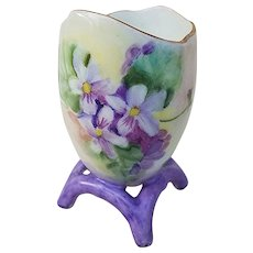 "Attractive Vintage Bavaria 1900's Hand Painted ""Violets"" Egg Shape Footed Floral Footed Toothpick Holder"