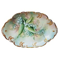 """Wonderful Haviland & Co. France 1900's Hand Painted """"Lily of the Valley"""" 11-1/2"""" Floral Tray by the Artist, """"Victoria George"""""""