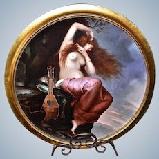 "Spectacular Museum Quality Limoges France Early 1900's Massive ""Portrait of A Red Haired Nude Maiden"" 18"" Scenic Plaque"