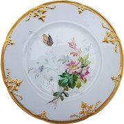 """Charming Vintage 1900 Limoges France Hand Painted """"Wild Pink Roses With Butterfly"""" 8-1/2"""" Floral Plate"""