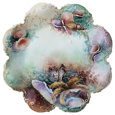 "Fabulous GDA France Limoges 1900's Hand Painted ""Sea Life"" 12-1/2"" Fancy Scallop Scenic Charger by Artist, ""J. Schmidt"""