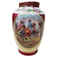"""Striking Vintage 1900's """"Napoleon Reviewing the Imperial Guard at the Bataille de Jena"""" Scenic & Holly Berry Vase Signed """"Vernet"""""""