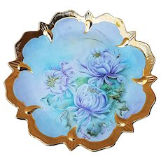 """Gorgeous Bavaria 1900's Hand Painted """"Lavender Zinnias"""" 10-3/8"""" Floral Plate by the Artist, """"B.L. Dewey"""""""
