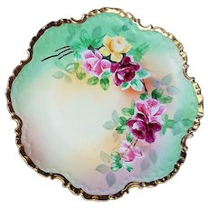"Beautiful Rosenthal Bavaria 1900's Hand Painted ""Red, Pink, & Yellow"" 8"" Floral Plate"