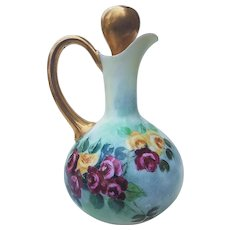 """Gorgeous Vintage 1900's Favorite Bavaria Hand Painted """"Deep Red & Yellow Roses"""" 6-3/4"""" Floral Cruet With Stopper"""