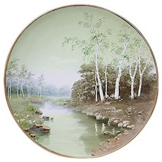 """Fabulous D & B Germany 1900 Hand Painted Scenic """"Woodland & Brook"""" 13"""" Charger"""