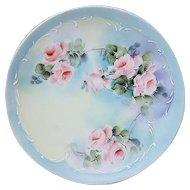 "Wonderful Vintage Thomas Sevres Bavaria 1900's Hand Painted ""Pink Roses"" Floral Plate"
