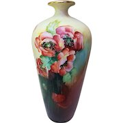 "Beautiful J.P.L. Limoges France 1900's Hand Painted ""Burnt Orange Poppy"" 13-1/2"" Floral Vase by the Artist, ""Ceiwitzl"""