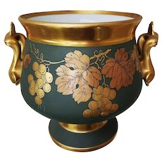 """Fabulous 10-3/8"""" Vintage Limoges & France Studio of Chicago 1906 Hand Painted """"Gold Grapes"""" Large Pedestal Jardiniere by """"Robert France"""""""