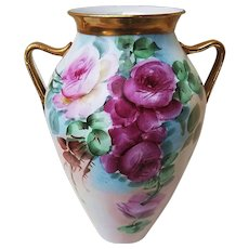 """Gorgeous Vintage 1900's Hand Painted """"Red & Pink Roses"""" 8-3/8"""" Floral Vase by the Artist, """"J. Reynolds"""""""